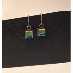 Small Square Earrings- Blue/Green Palette